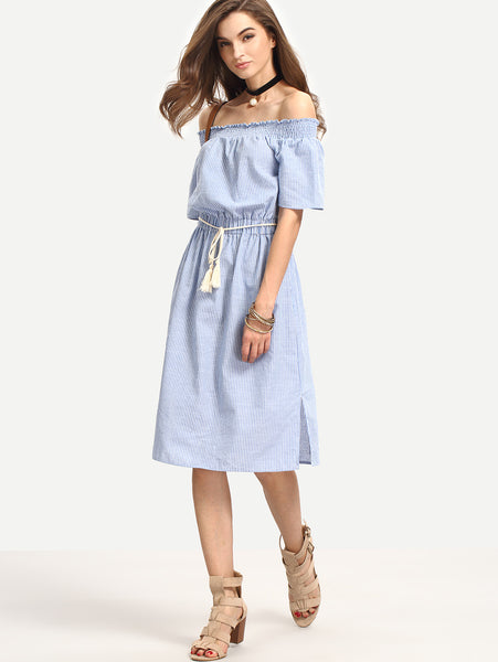 Zere Souq Bardot Pinstripe Tie Waist Knee Length Dress