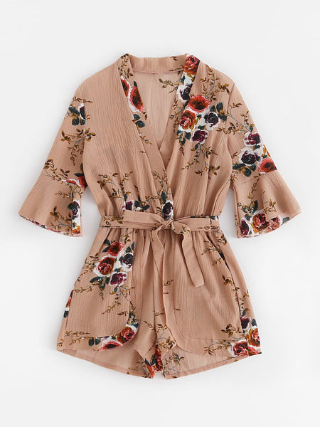 Zere Souq Fluted Sleeve Floral Print Surplice Romper With Belt