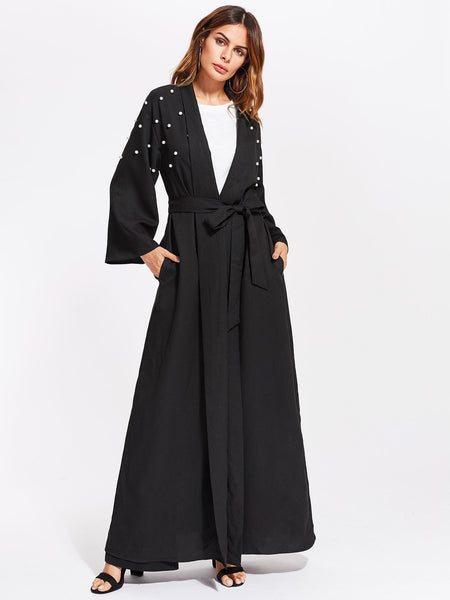 Zere Souq Pearl Embellished Self Belt Abaya