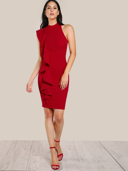 Zere Souq One Sided Exaggerated Frill Dress