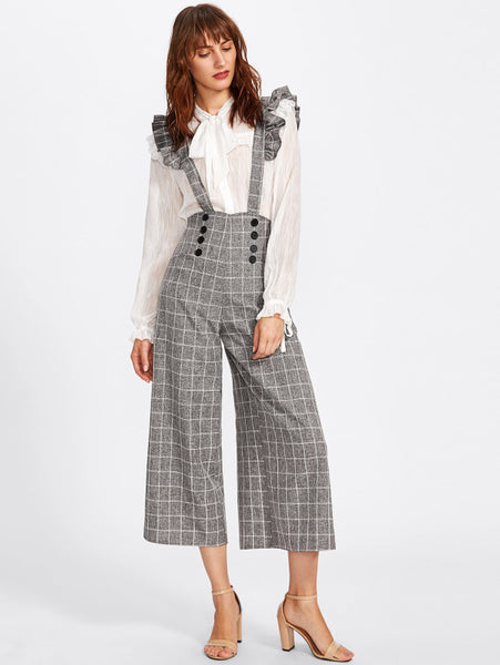 Double Breasted Culotte Pants With Ruffle Strap