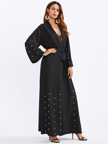 Zere Souq Shawl Collar Pearl Embellished Self Belted Abaya