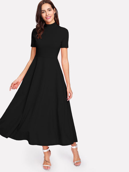 Zere Souq Mock-Neck Hidden Pocket Flowy Dress