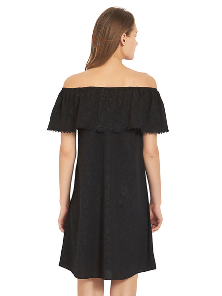 Black Off Shoulder Shift Dress