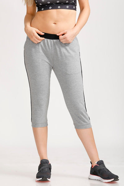 Zivame Straight Fit Crop Pants- Grey Melange