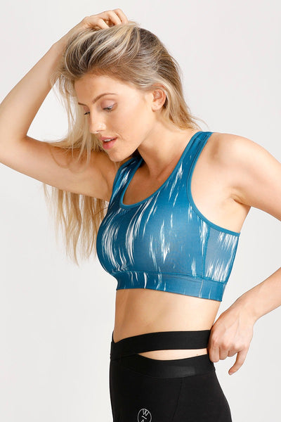 Zivame Abstract Print Medium Impact Racerback Sports Bra- Teal