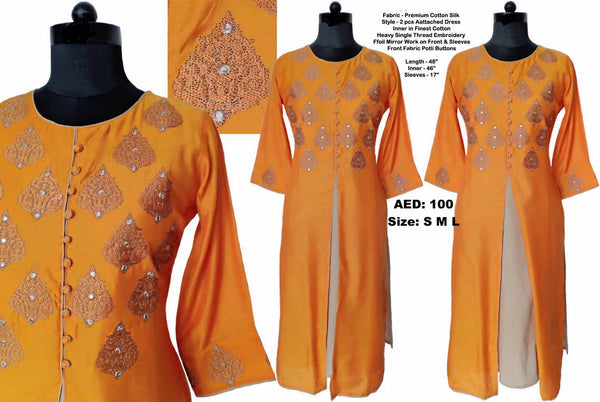 Orange Embroidered 2Layer Kurta
