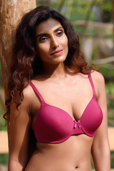 Zivame Smooth Fit High Coverage Wired T-Shirt Bra- Burgundy