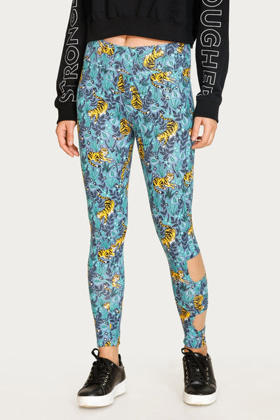 Zivame Printed Leggings- Blue N Print