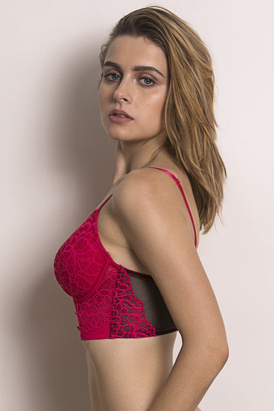 Zivame Color Struck Padded Underwired Longline Bra- Pink