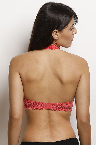 Zivame Moroccan Lace Padded Wired Halter Neck Bra- Coral
