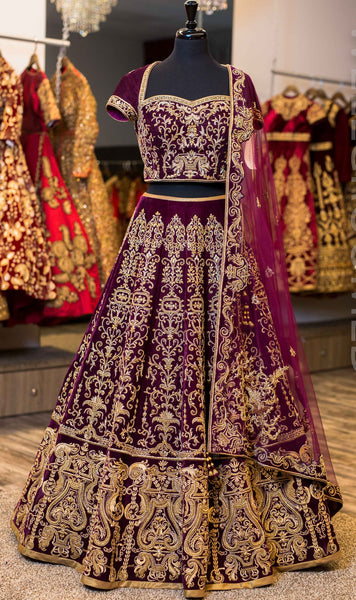 Wine purple Wedding Designer/Bridal Lehenga