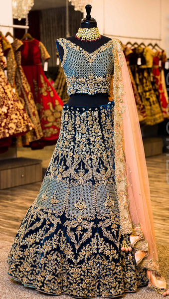 Teal / Navy Wedding Designer/Bridal Lehenga