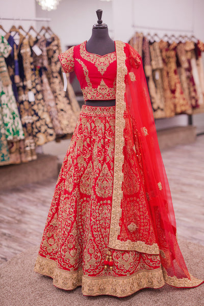 Crimson Red Wedding Designer/Bridal Lehenga