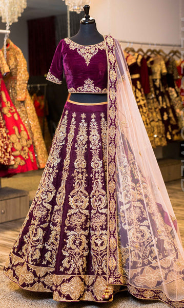 Plum purple Wedding Designer/Bridal Lehenga