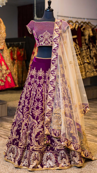 Deep Purple Wedding Designer/Bridal Lehenga