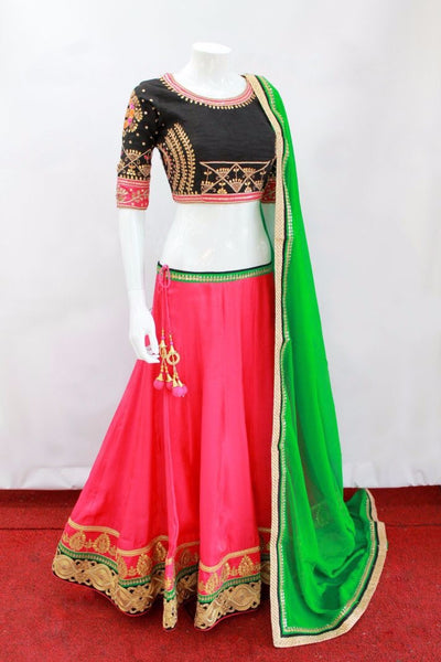 Hot Pink/black Designer Lehenga