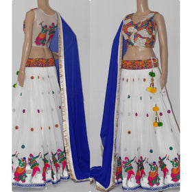 White/Royal Blue Designer Lehenga