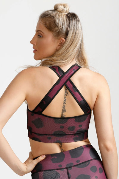 Zivame Dotted Medium Impact Crossback Sports Bra- Wine