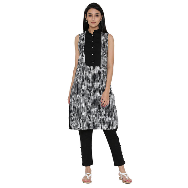 Off-White And Black Printed Kurta With Trousers