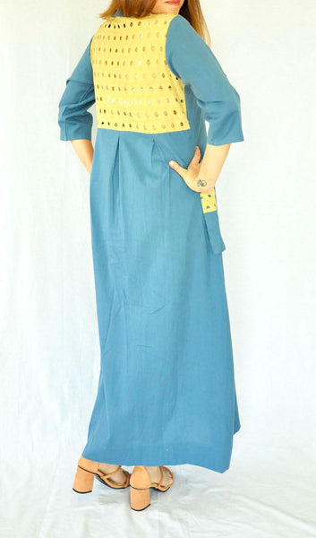 Marine Blue Long Khadi Dress