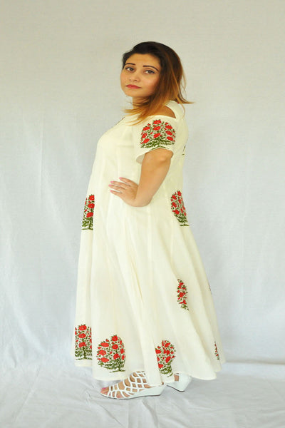 White Cold shoulder dress with mughal  prints