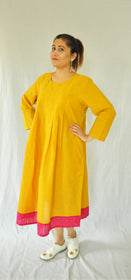 Angelica Turmeric Yellow Pleated Dress