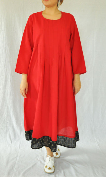 Angelica Red Pleated Dress