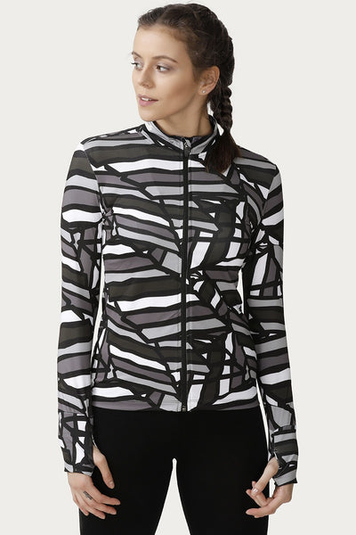 Zivame Neo Play Fitted Jacket-Black N Print