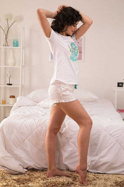 Zivame Candyland Top N Shorts Set - White N Print