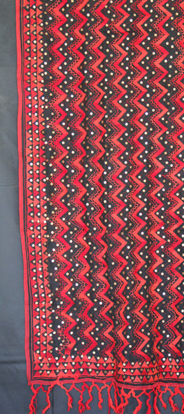 Red and Black Embroidered Dupatta
