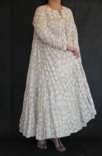 Ivory and Gold tiered tunic dress
