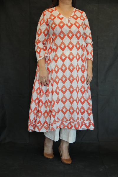 Coral Kurta Dress in Hand Block Prints