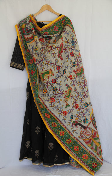 White & Green Dupatta
