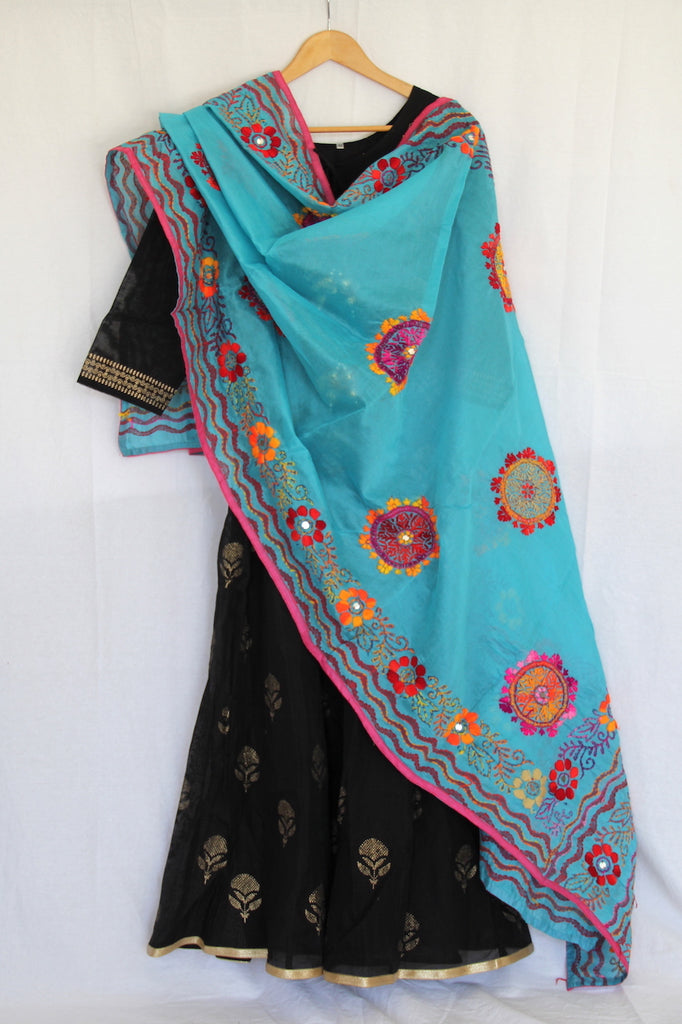 Aqua Embroidered Dupatta