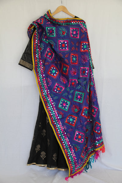 Electric Blue Embroidered Dupatta