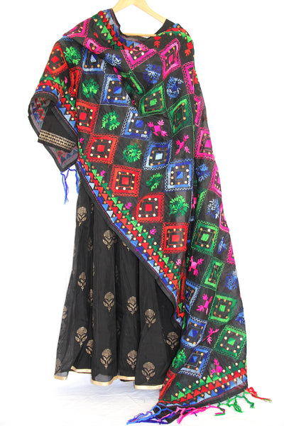 Black Phulkar Embroidered Dupatta