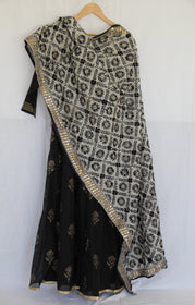White and Black Embroidered Dupatta