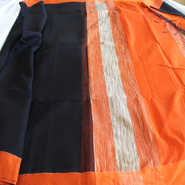 Black and Flame Jute Tussar Saree