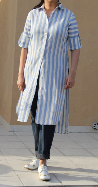 Sky Blue Striped Shirt Dress