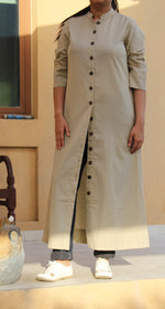 Ecru Khadi Shirt Dress