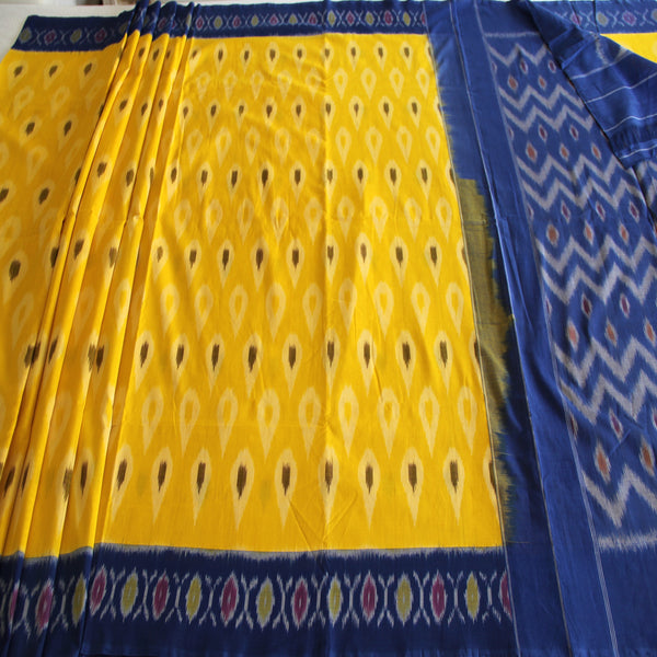 Yellow and Blue Ikat Saree