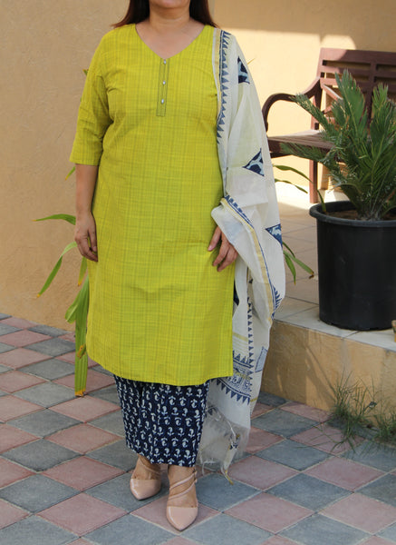 New Leaf and Indigo Cotton Kurta and Pants with Chanderi Dupatta