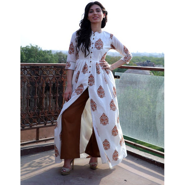 Cinnamon block printed cape with palazzos