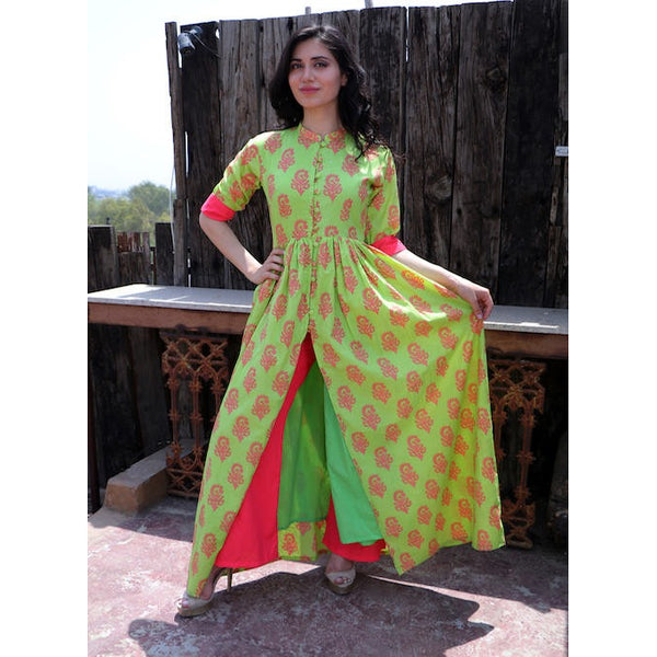 Basil and Coral Set Kurti