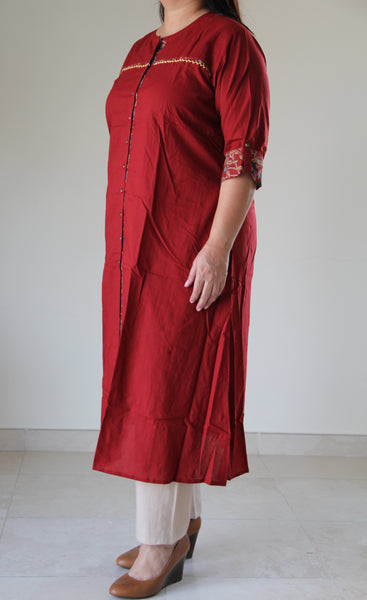 Red Front open Kalamkari Tunic