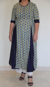 Navy Pleated Kurta