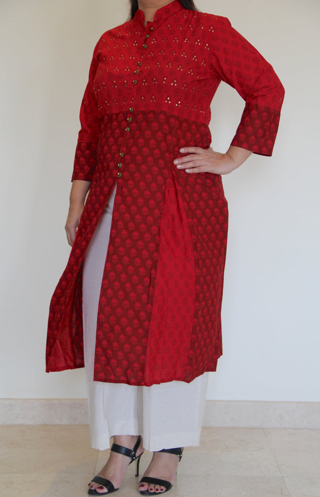 Maroon & Red dual tone tunic