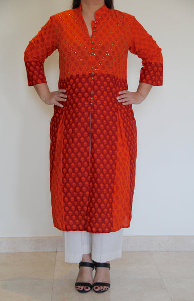 Orange & Red Dual tone tunic