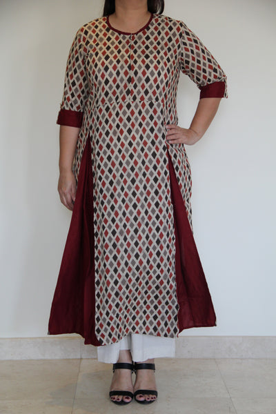 Maroon Pleated Kurta
